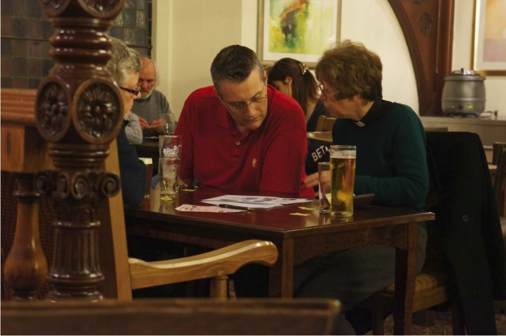Rev Alison and Charles at Quiz Night. The Chapel. 2013